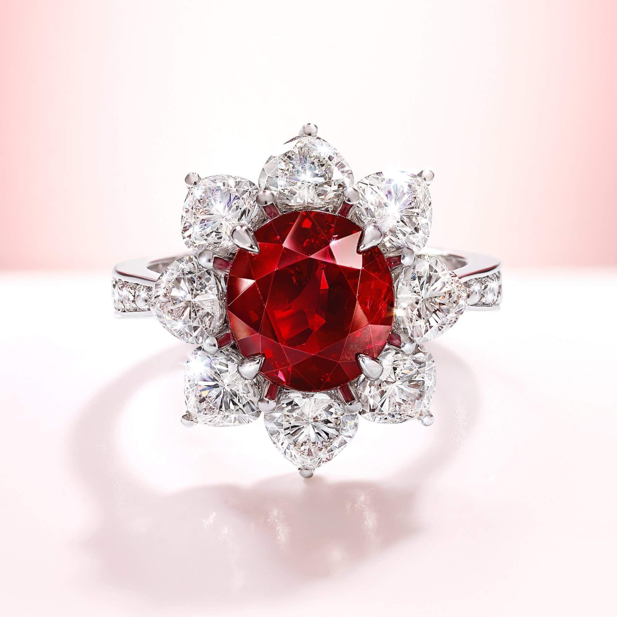 4 ct Oval Burmese Graff Ruby diamond ring - GR46605