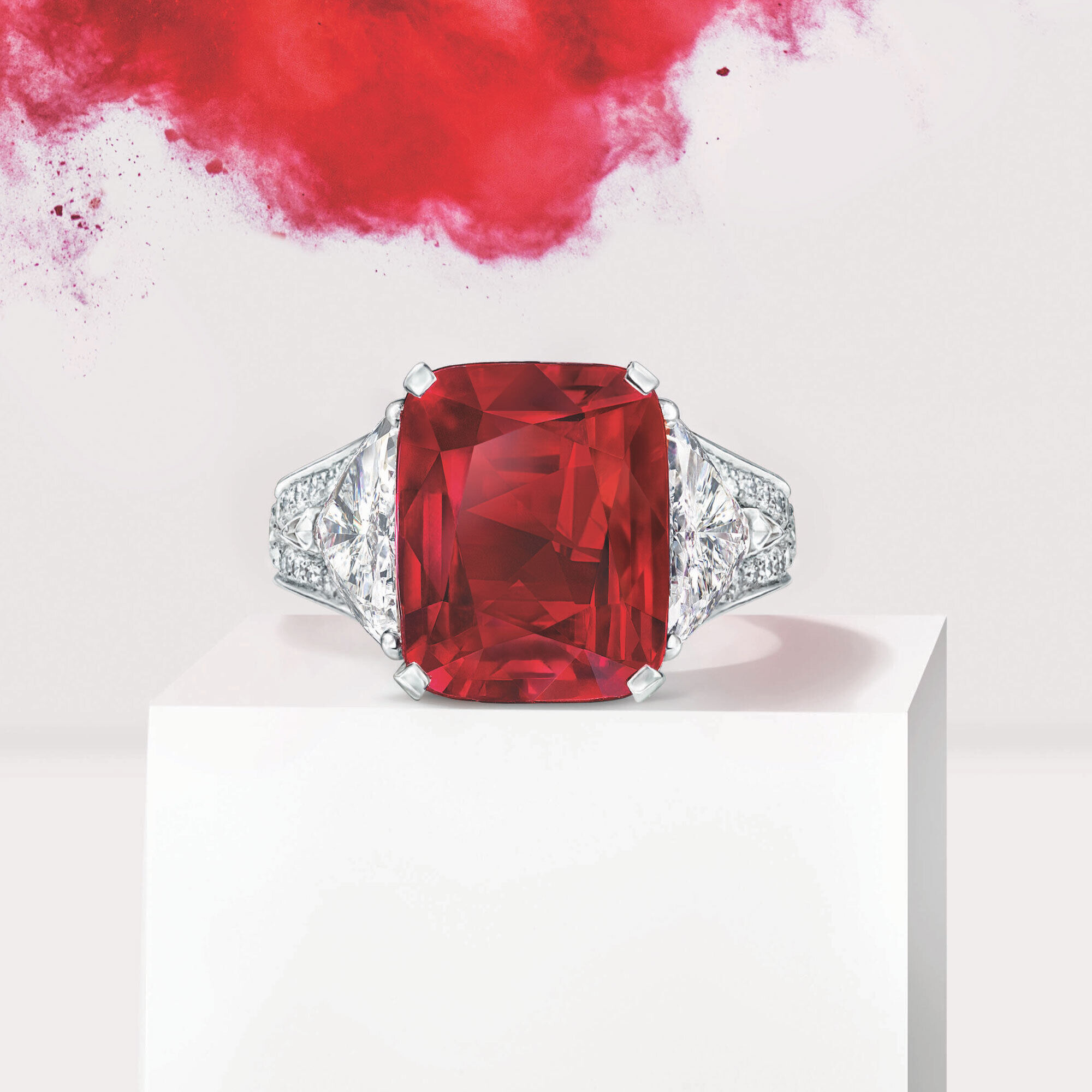 A Graff ruby and diamond high jewellery ring with explosion effect