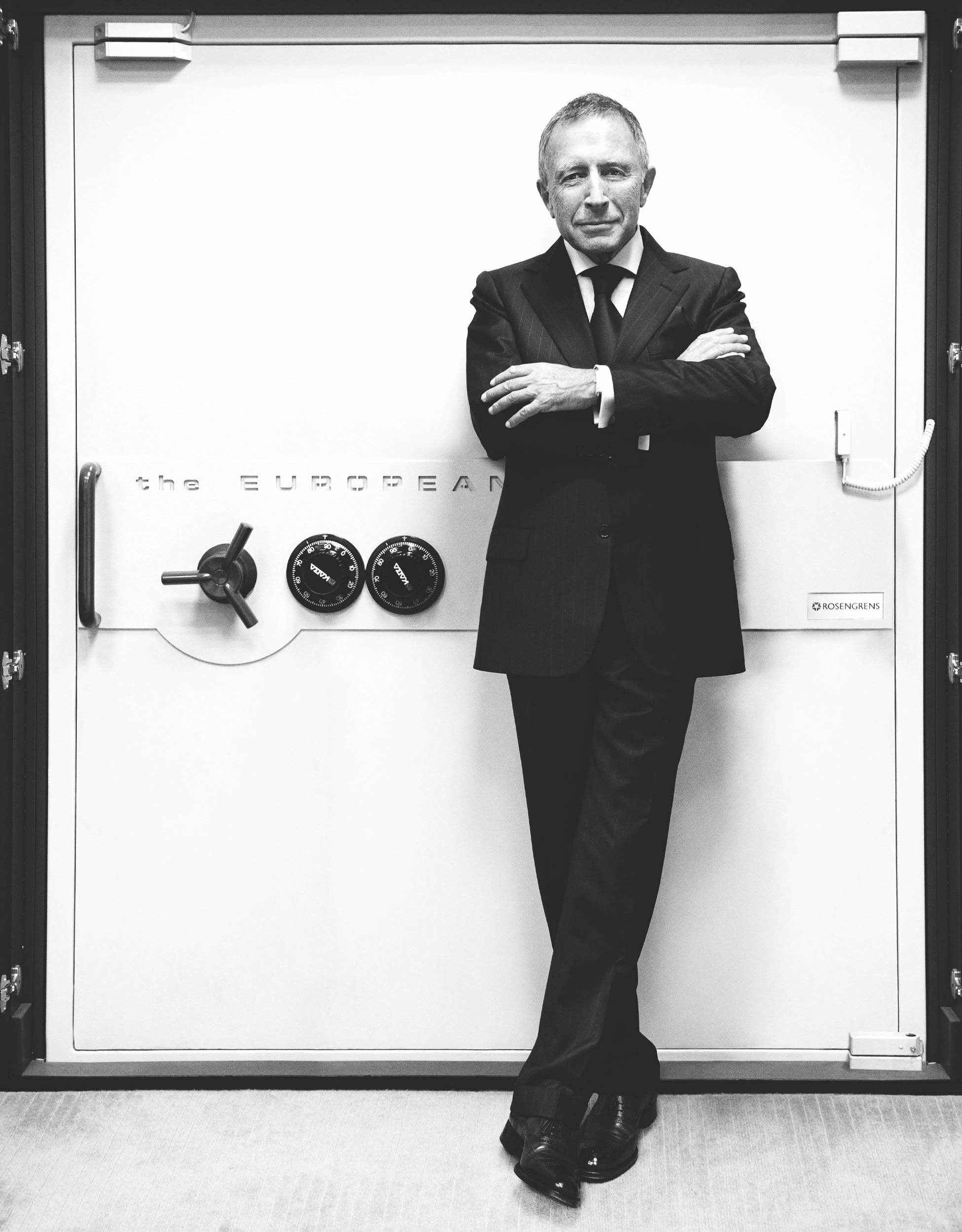 Mr Laurence Graff stands in front of a vault