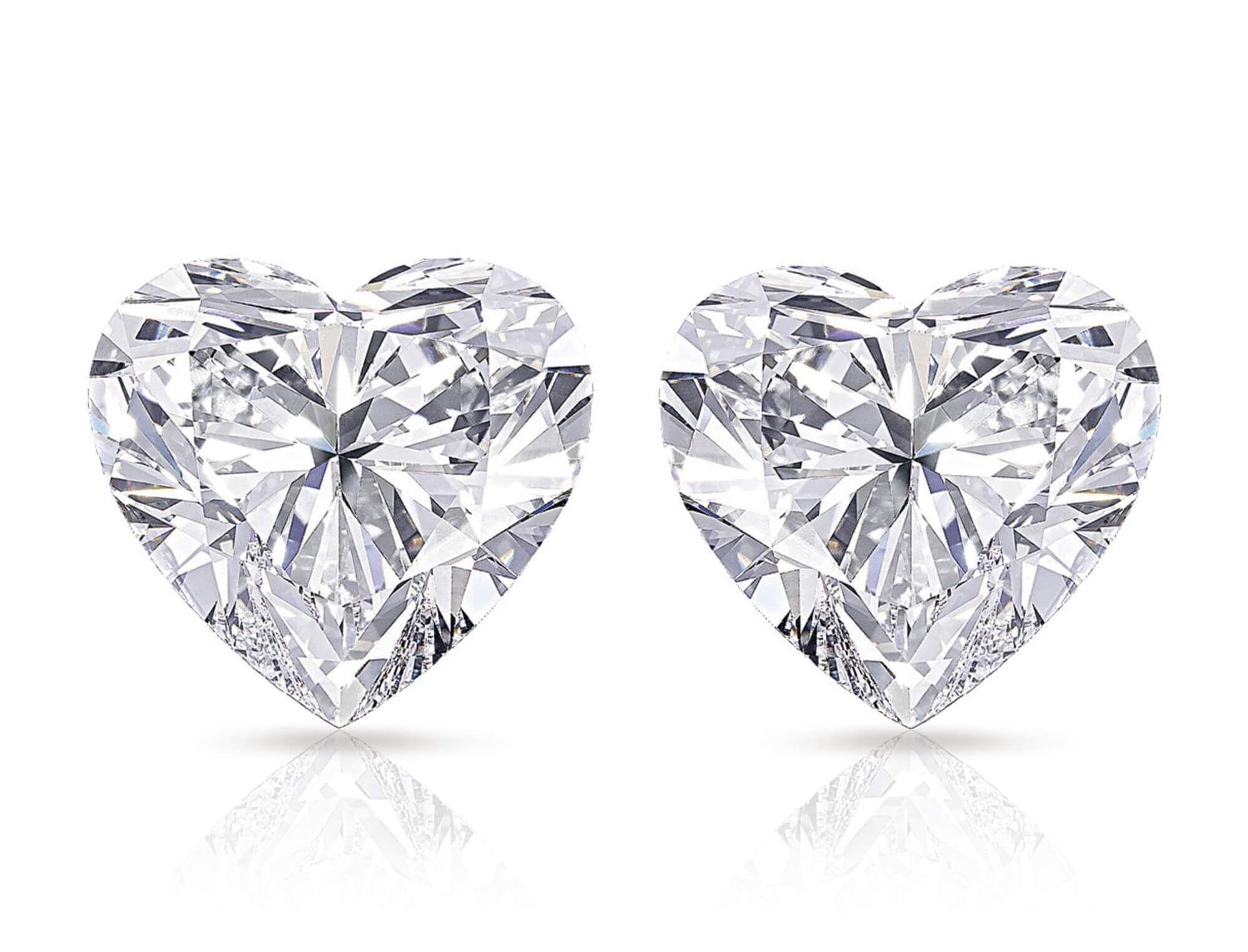 The Graff Sweethearts - 51.53 and 50.76 carat heart shape famous diamonds