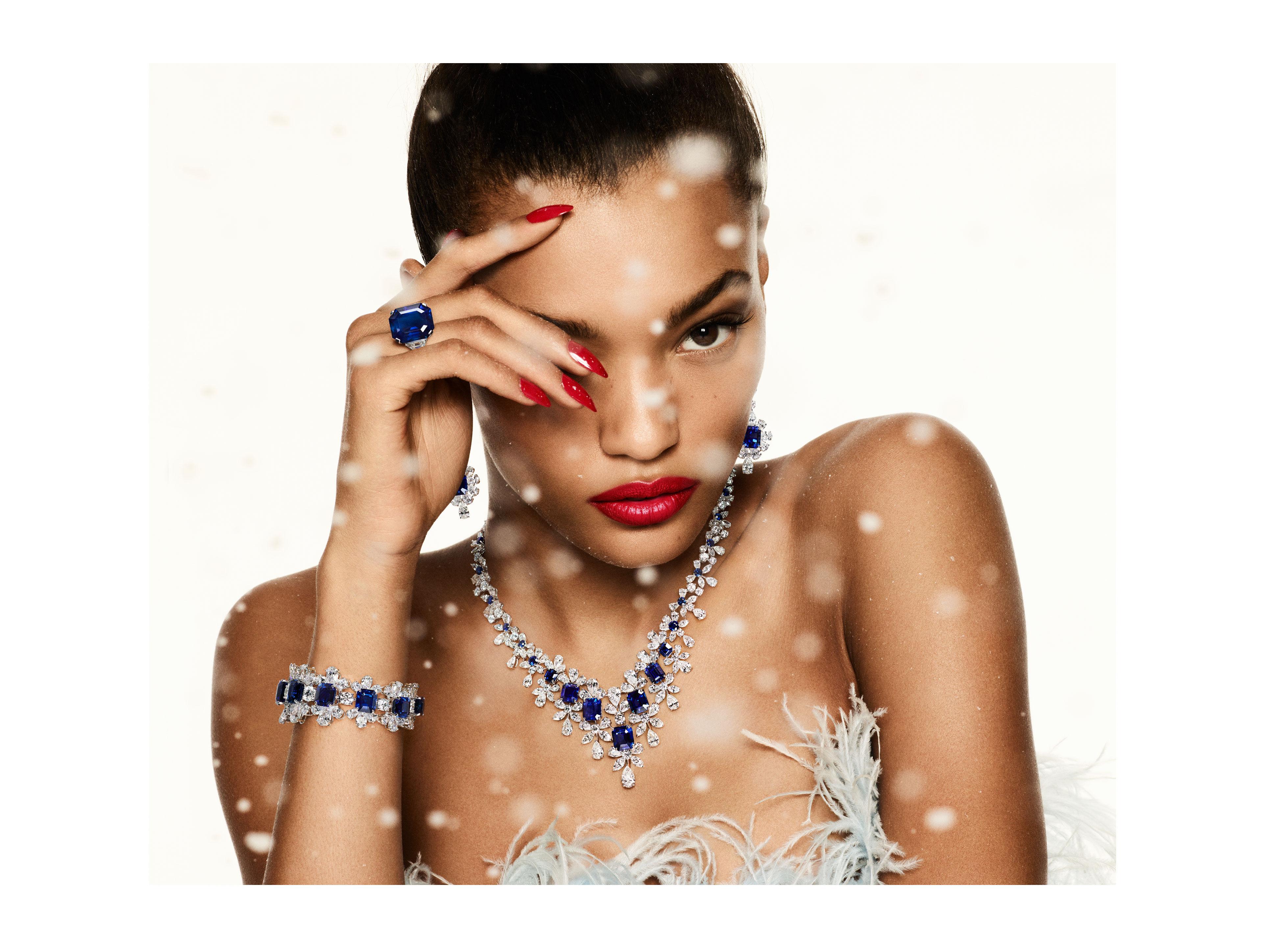 Model wears Graff sapphire and white diamond high jewellery