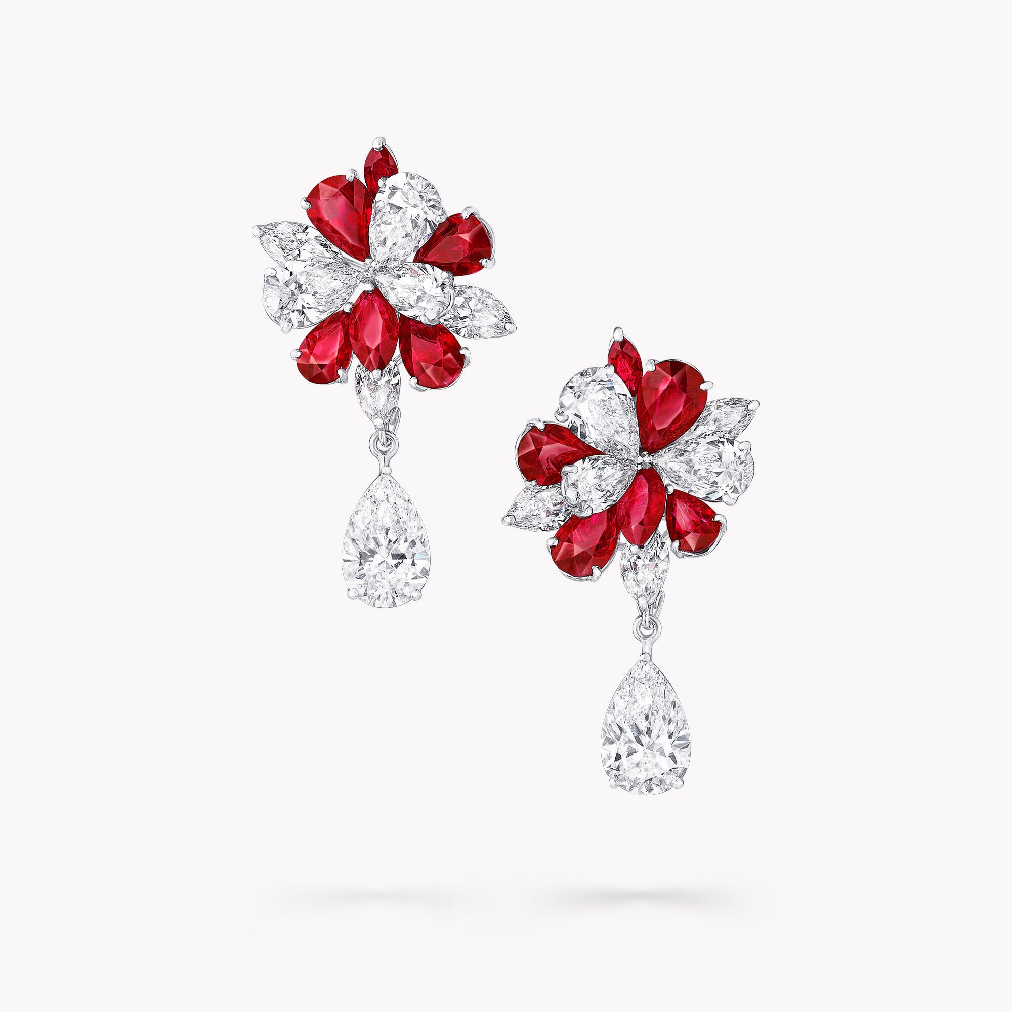 A pair of Graff ruby and white diamond high jewellery earrings