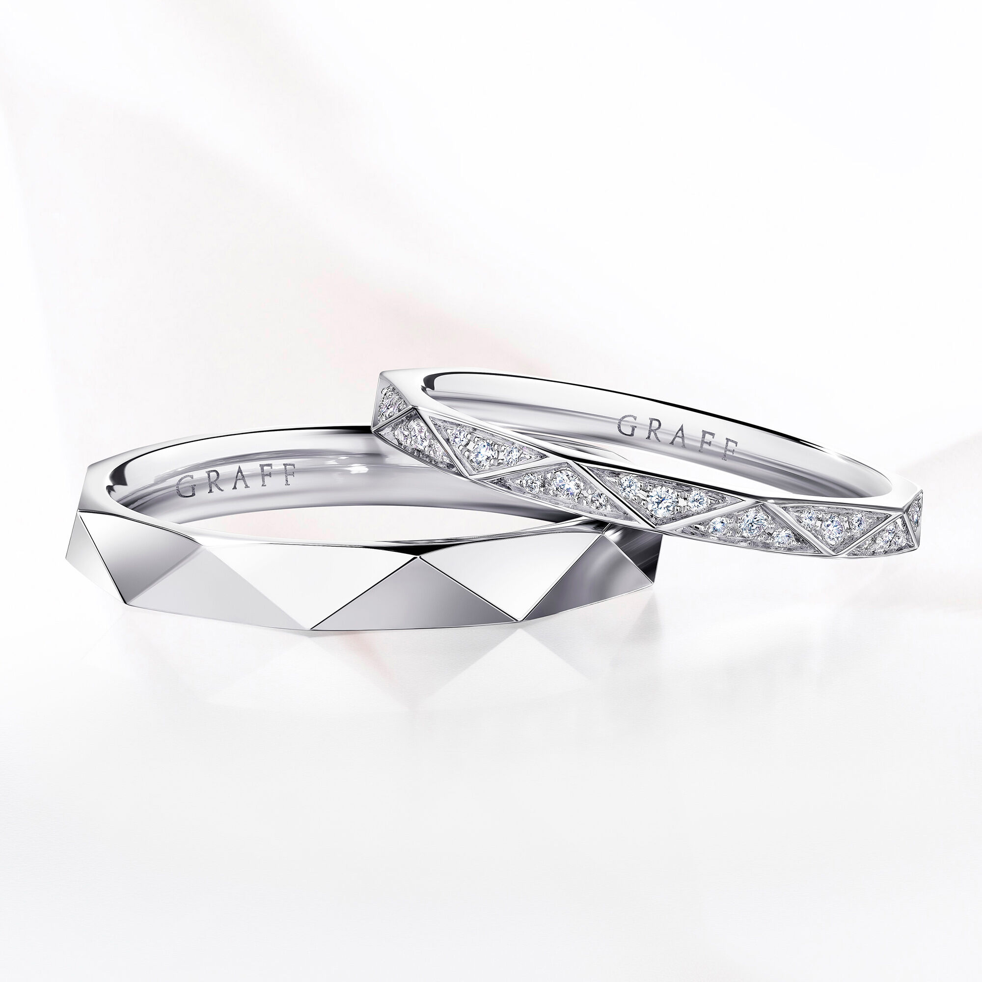 Two white gold version of the Laurence Graff Signature Wedding bands