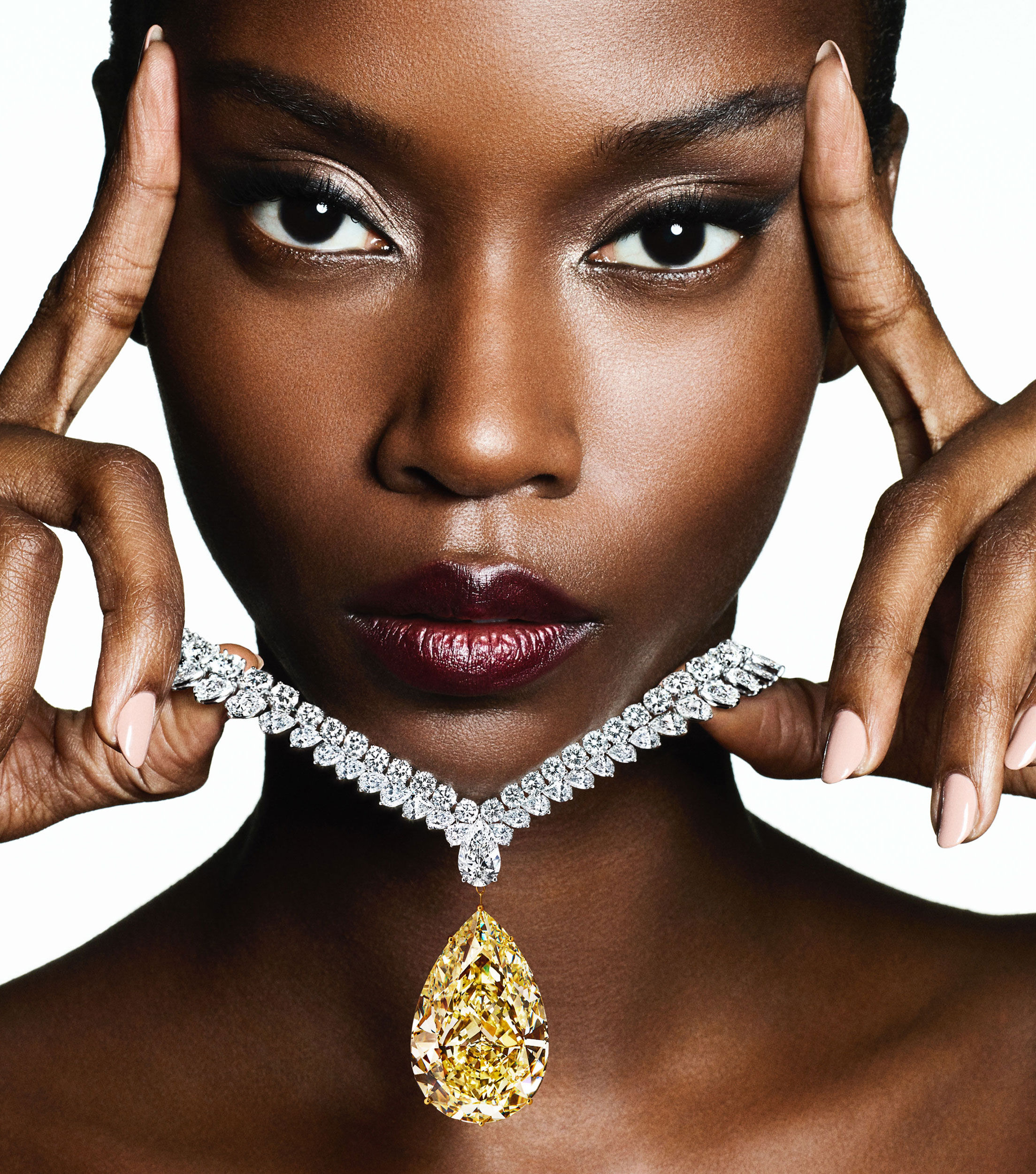 Model wears a Graff high jewellery yellow and white diamond necklace