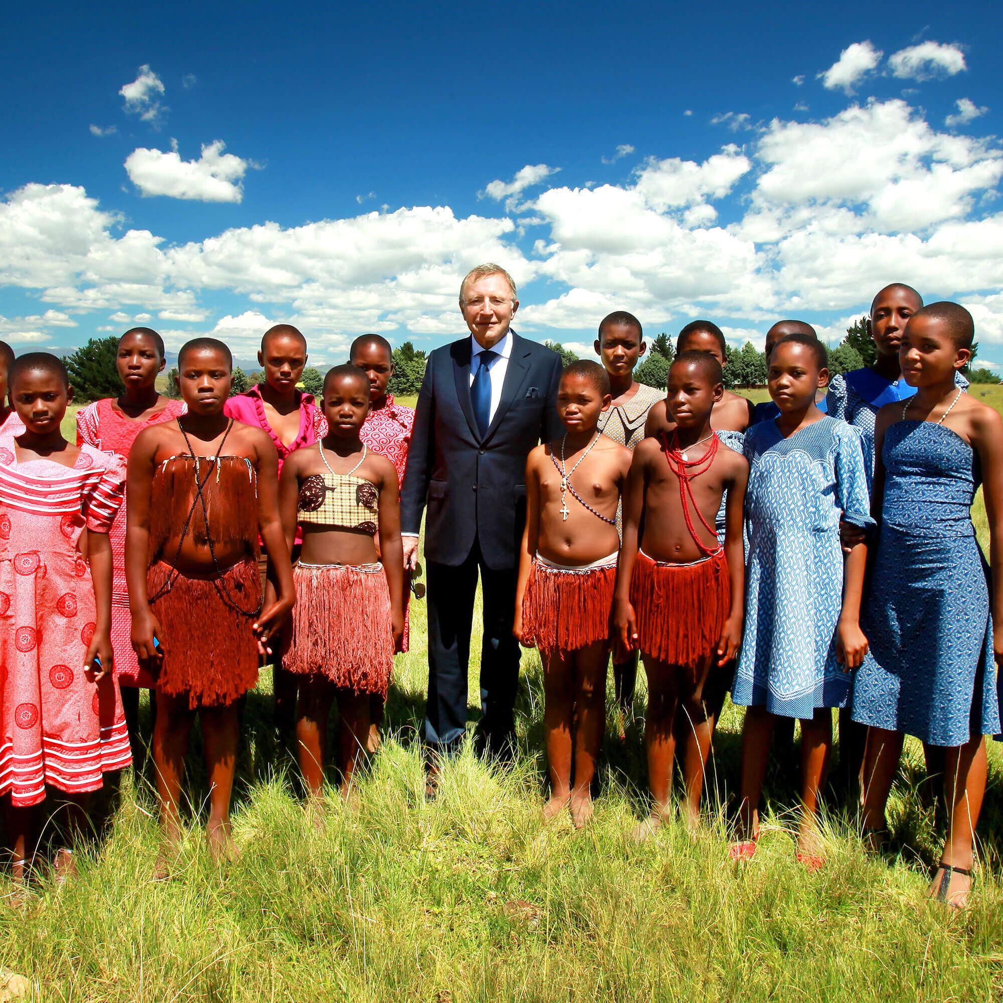 Mr Laurence Graff and children in South Africa
