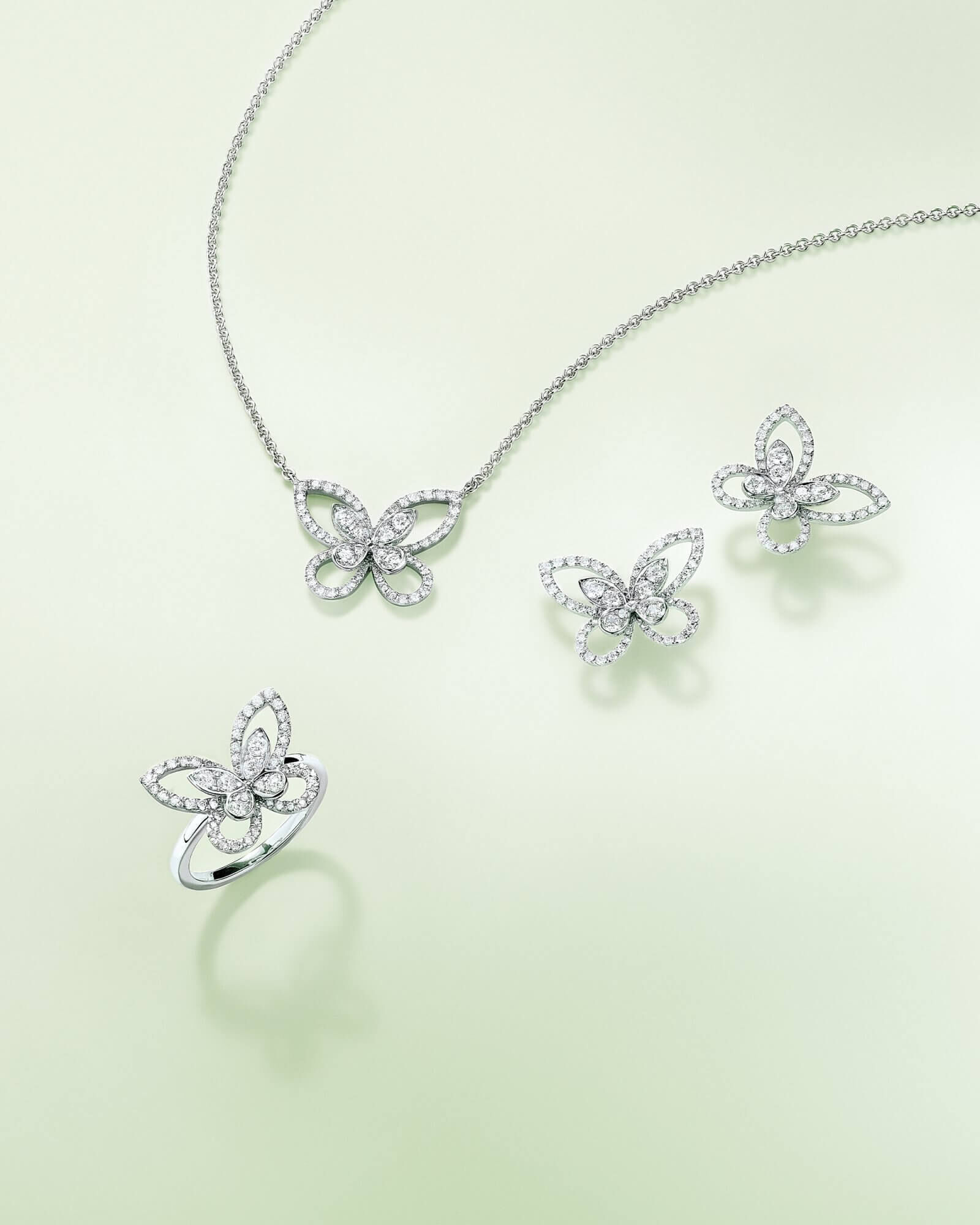 The Graff Butterfly Silhouette colleciton diamond ring, earrings and pendant