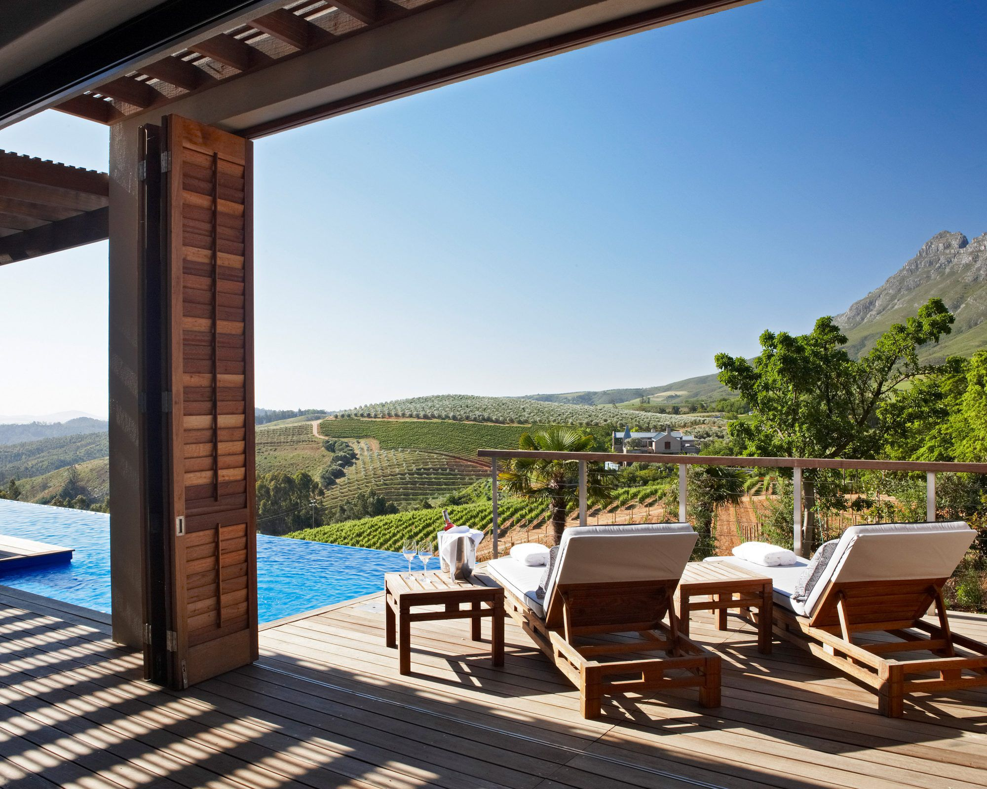 view from one of the lodges in the Delaire Graff Estate in South Africa