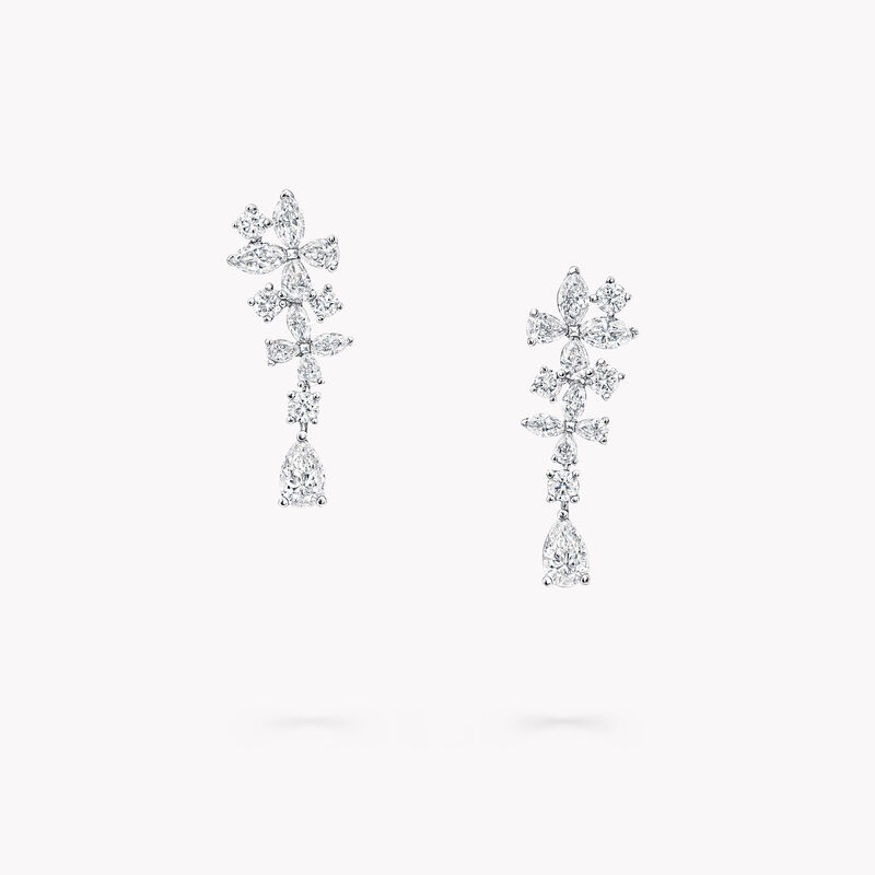 Classic Butterfly Diamond Drop Earrings, , hi-res