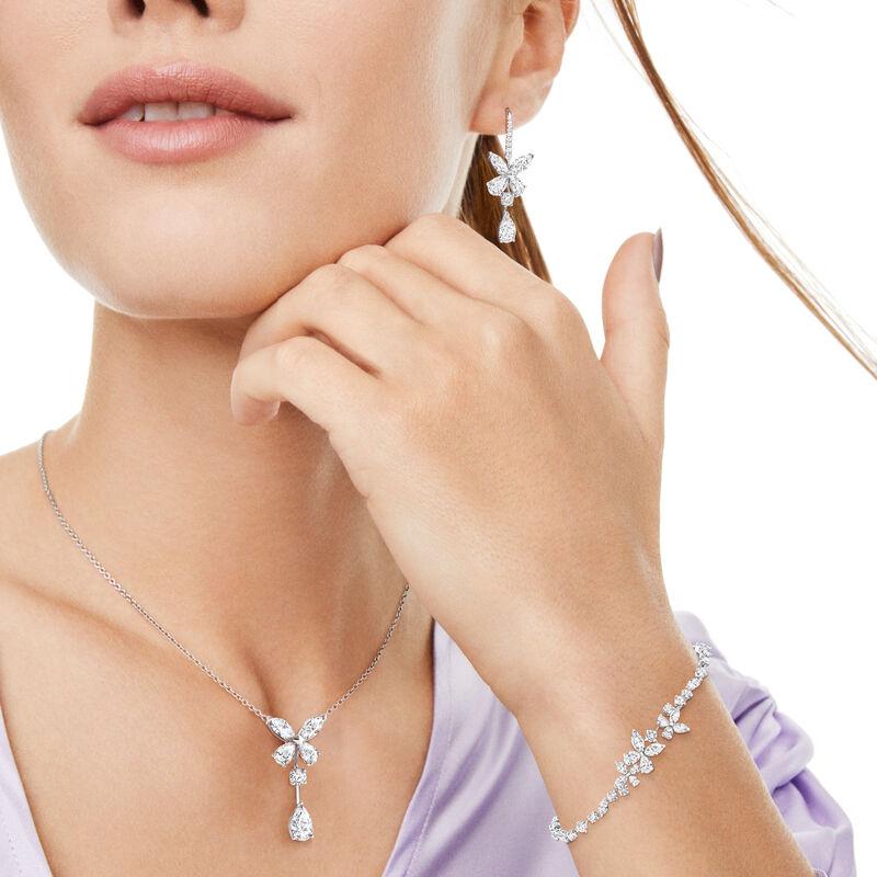 Classic Butterfly Single Motif Pear Shape Diamond Drop Earrings, , hi-res
