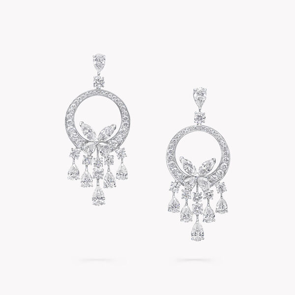 Classic Butterfly Chandelier Diamond Earrings, , hi-res