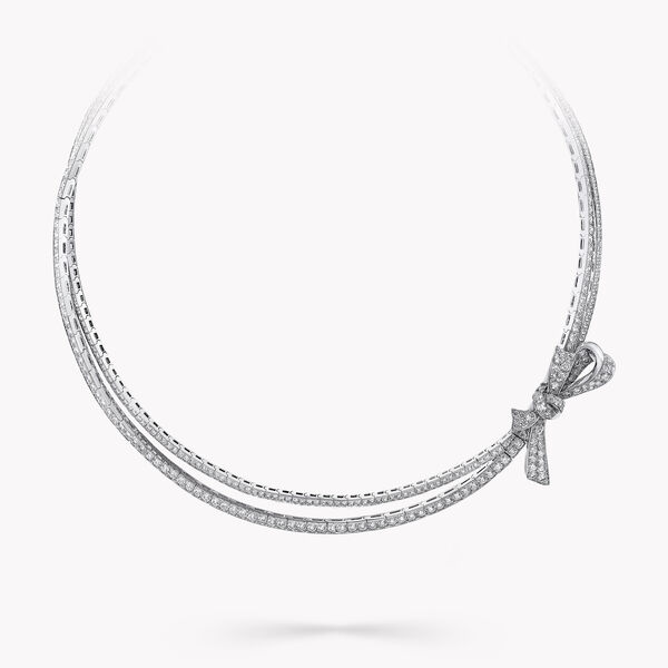 Bow Pavé Diamond Necklace, , hi-res