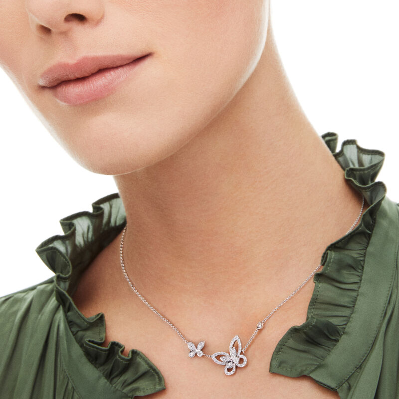 Double Butterfly Silhouette Diamond Pendant, , hi-res