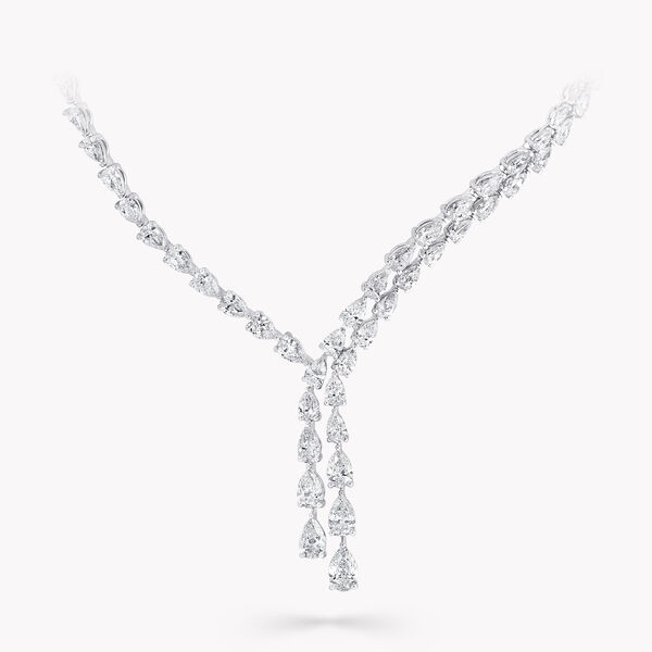 Pear Shape Diamond Cross-over Necklace, , hi-res