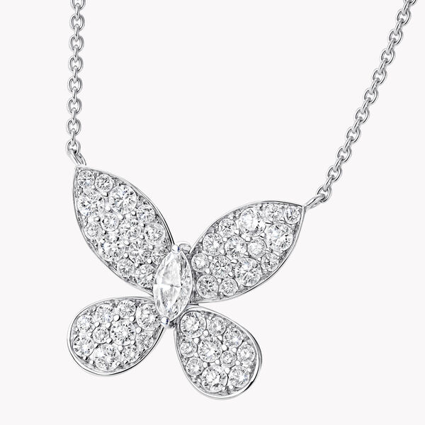 Pavé Butterfly Diamond Pendant, , hi-res