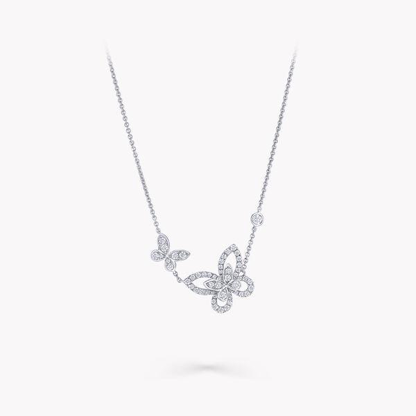 Double Butterfly Silhouette Diamond Pendant, , hi-res