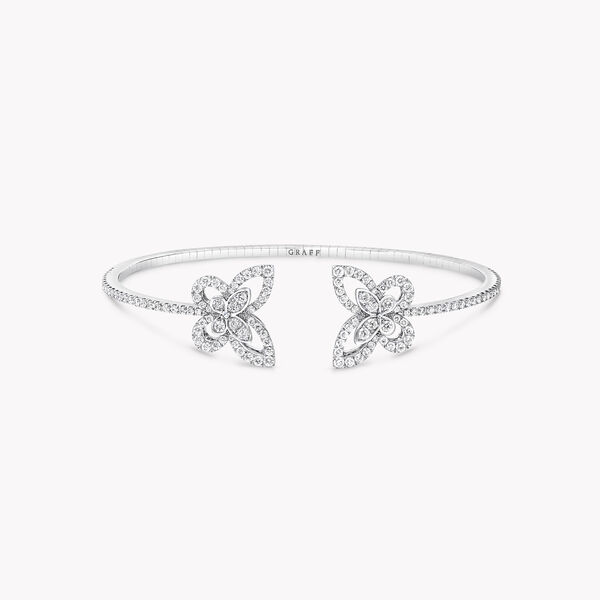 Double Butterfly Silhouette Diamond Bangle, , hi-res