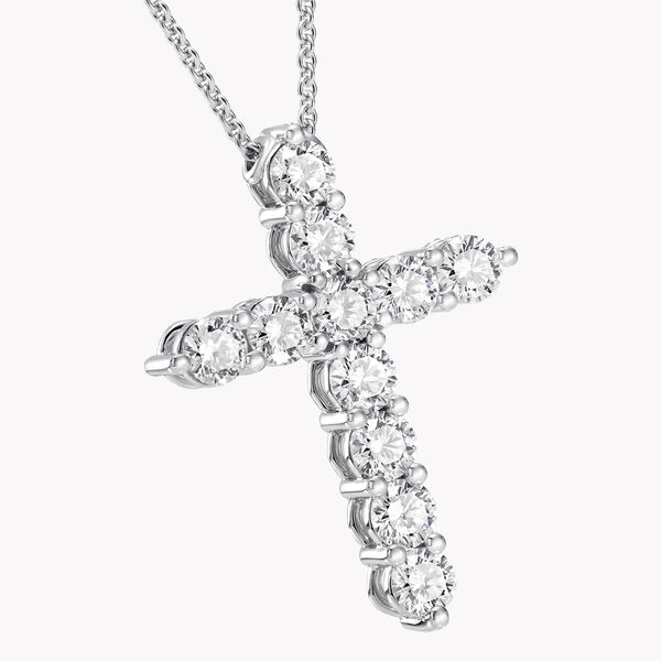 Round Diamond Cross Medium Pendant, , hi-res