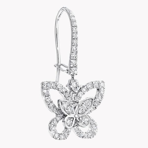 Butterfly Silhouette Diamond Drop Earrings, , hi-res