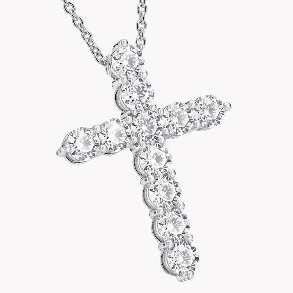 Round Diamond Cross Large Pendant, , hi-res