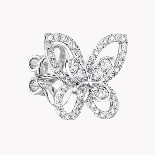 Butterfly Silhouette Diamond Stud Earrings, , hi-res