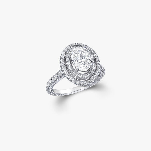 Twin Constellation Oval Diamond Engagement Ring, , hi-res