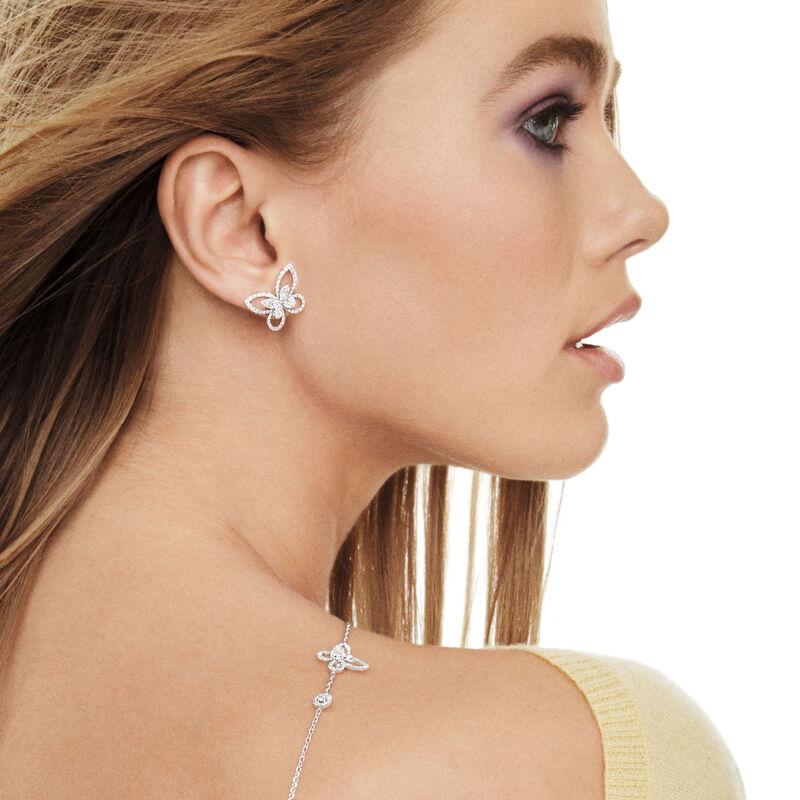 Butterfly Silhouette Diamond Stud Earrings, , hi-res