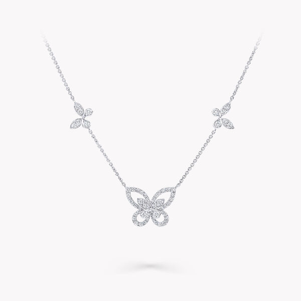 Multi Butterfly Silhouette Diamond Pendant, , hi-res