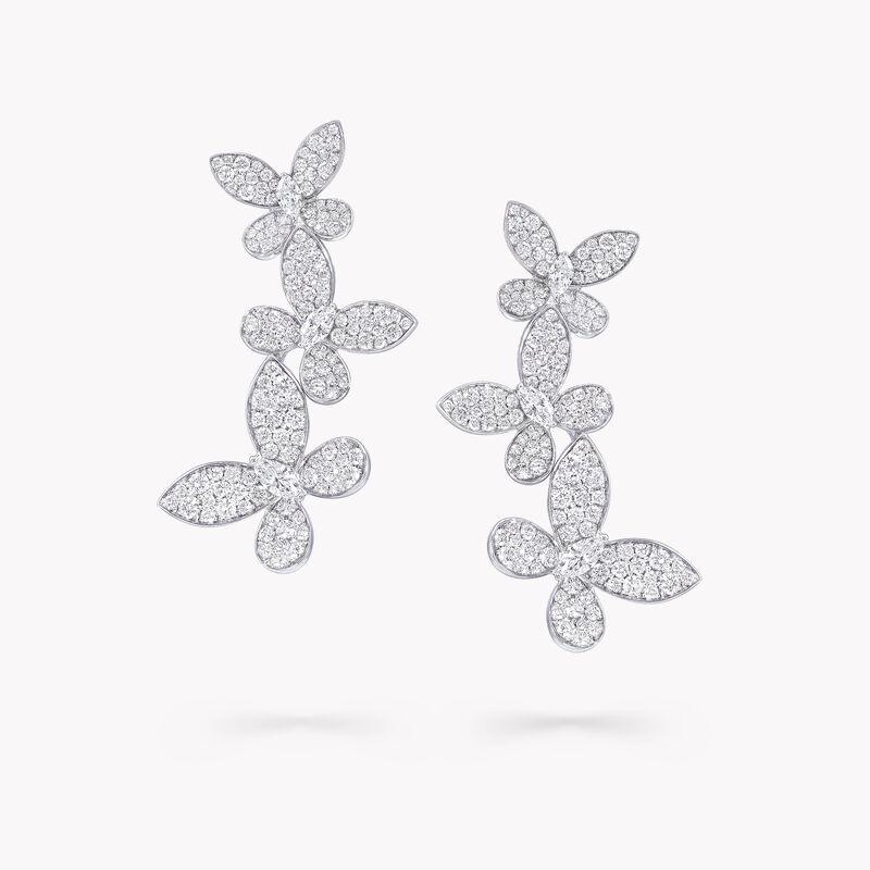 Triple Pavé Butterfly Diamond Drop Earrings, , hi-res