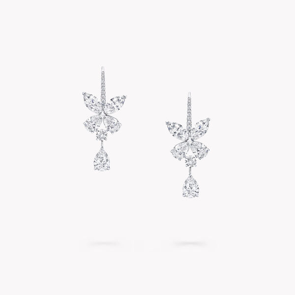 Classic Butterfly Single Motif Pear Shape Diamond Drop Earrings, , hi-res