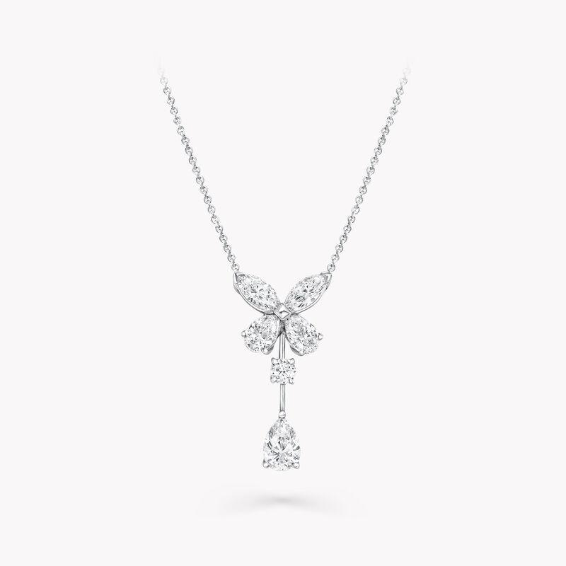 Classic Butterfly Single Motif Pear Shape Diamond Drop Pendant, , hi-res