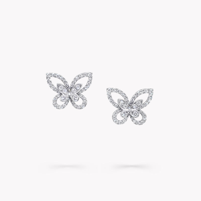 Butterfly Silhouette Diamond Mini Stud Earrings, , hi-res