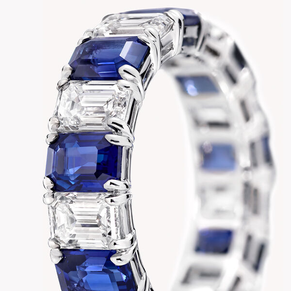 Emerald Cut Sapphire and Diamond Wedding Band, , hi-res