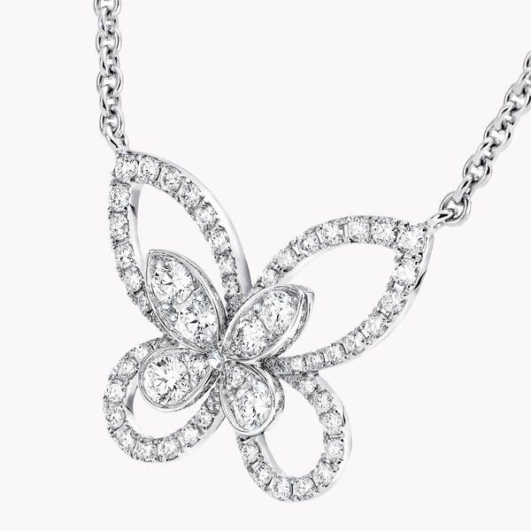 Butterfly Silhouette Diamond Pendant, , hi-res