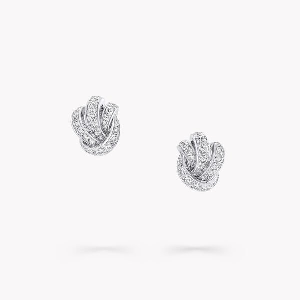 Knot Pavé Diamond Stud Earrings, , hi-res