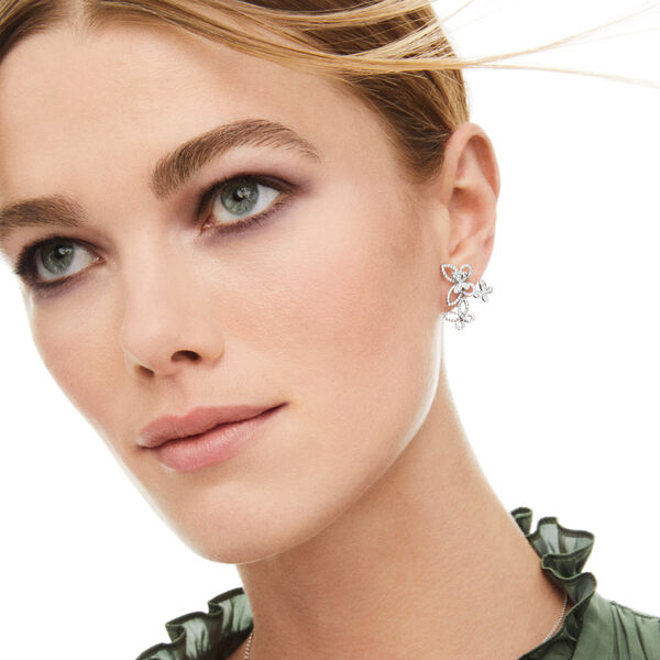 Triple Butterfly Silhouette Diamond Earrings, , hi-res