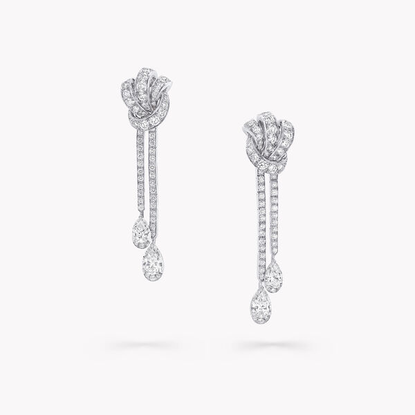 Knot Pavé Diamond Drop Earrings, , hi-res