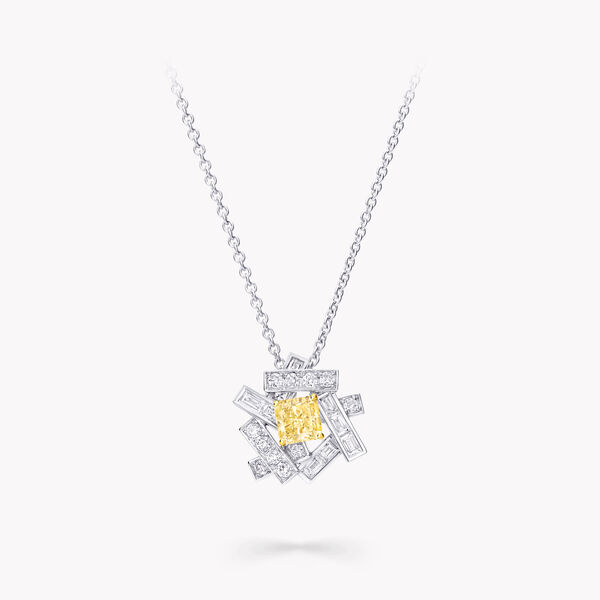 Threads Yellow and White Diamond Pendant, , hi-res